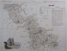 Carte du Département du NORD gravée sur acier par Alés Petit Atlas National