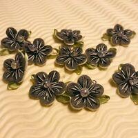 """40 pc x 1"""" Grey  Hand Made Felt Flower Appliques w/Stitches & Bead Satin Leaf"""