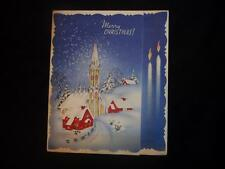 Vtg Christmas Card- Snow Falling On Glowing Church- Red Houses Thick Snow Trees
