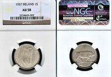 Ireland 1937 Shilling Very Rare Keydate, NGC 58, Sharp Detail, Luster, Low Mtg