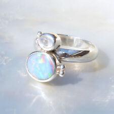 Opal Dublette Ring, 925er Silber, Edelsteinring (21817), mit Mondstein