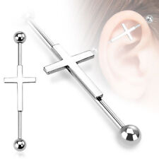 New Surgical Steel Cross Crucifix Scaffold Industrial Piercing Bar Barbell 38mm