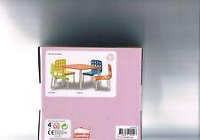 Puppenstube Terrassenmöbel Gartenmöbel Tisch 4 Stühle *NEU* Lundby Stockholm