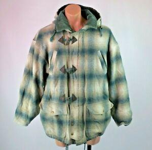 Vtg 90s Plaid Zip Up Surf Skate Grunge Hippie Retro Baja Style Hoodie Jacket L