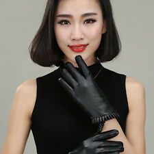 Women Ladies Lace Touch Screen Gloves Winter Warm Leather Smartphones Texing