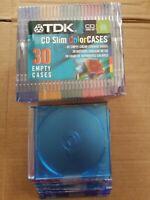 TDK 42 Pack Slim CD Color Cases 5 Colors Sealed