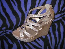 Caged Strappy Platform Rhinestone Shimmer Wedge High Heel Evening Dress Sandals