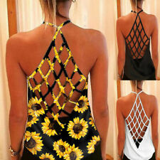 Women Summer Sleeveless Halter Floral Sunflower Blouse Casual Loose Tank T Shirt