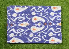 Kantha Quilt Twin Size Bedsheet Handmade Cotton Blue Paisley Gudari Bedspread