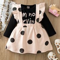 Baby Girls Princess Outfits Romper Tops Suspender Skirt Set Toddler 2PCS Clothes
