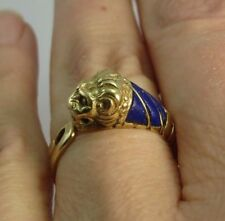Vtg Estate Solid 18K Yellow Gold LION Head Ring,Hand Carved LAPIS LAZULI .750