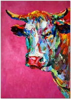 Hand Painted Colorful Impressionist Cow Oil Painting On Canvas Wall Art 60x40cm