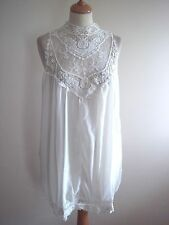 New Vintage Stye Ivory Chiffon Luxury Embroidered Lace A Line Tunic Dress 10/12