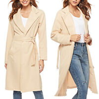 Women Lapel Coat Outwear Long Trench Belted Parka Jackets Casual Overcoat Tops