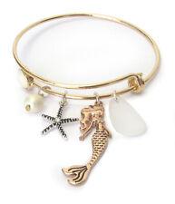 Mermaid Charm Starfish Sea Life Theme Wire Bangle Bracelet