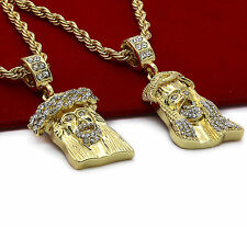"Mens 14k Gold Plated High Fashion 2 pcs set of Jesus 4mm 30"" & 24"" Rope chain #1"