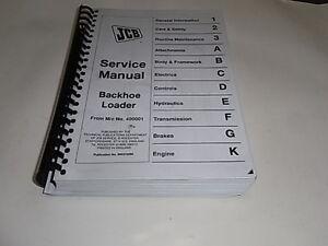 JCB Loadall Service manual backhoe loader from M/c No. 400001 photocopy