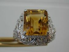 4.30ct FLAWLESS CITRINE RING. HANDCARVED FILIGREE ESTATE, ART DECO STYLE, SZ 6.5