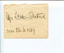 Olga Levko-Antosch Early Opera Singer Signed Autograph