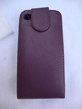 Purple Oker Phone Leather Black Plastic Magnetic Flap Closure Iphone 4 4S Case