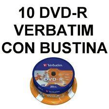 10 DVD-R VERBATIM VERGINI CON BUSTINA IN PVC CON ALETTA!!!