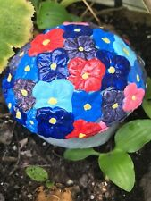 Cement blue/red flower garden mushroom in/out door yard patio mantel pool art