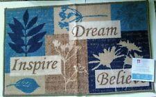 "Dream Inspire Believe Accent Mat Rug Kitchen Home Decor 19.7""x33"" Blue Tan"