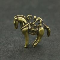 Antique Brass Horse Pendant Small Statue Monkey On Back Pocket Gift Ornament