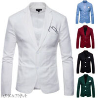 Men's Slim Fit Two Button Formal Business Casual Suit Blazer Coat Jacket Tops