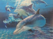 Poster Print 3d picture of a school of cheerful dolphins, for Home Decor F105