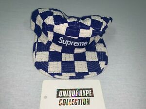 SUPREME 2019 S/S CHECKERBOARD BOUCLE CAMP CAP BOX LOGO BLUE HAT 5 6 PANEL