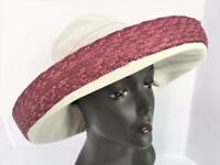 Scala Collection Vtg NWT Upturned Brim Canvas Pink Woven Straw Sun Protection