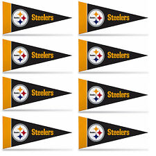 "Pittsburgh Steelers Mini Pennant Banner Flags 4"" x 9"" Fan Cave Decor 8 Pk Set"