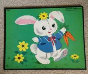 Vintage 1955 Rabbit Whitman Puzzle Carrots Flowers Frame Tray No 4421:29 Easter