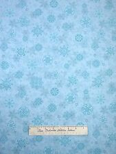 Christmas Fabric - Holiday Cheer Blue Snowflake Toss - Henry Glass YARD