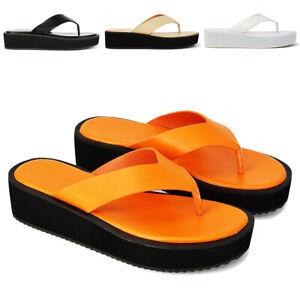 Women Low Wedge Toe Post Sandals Ladies Flip Flops Platform Summer Flatform Shoe