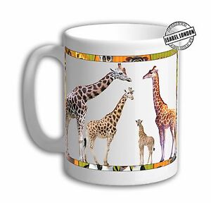 Personalised GIRAFFE PARTY  ANIMALS MUG Cup .Add any Name and Text 6848