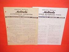1939 MOTOROLA AUTO CAR RADIO SERVICE SHOP REPAIR MANUAL BROCHURE MODEL 9-49