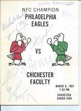 Philadelphia Eagles Signed Autographed 1981 eagles vs chichester basketball game