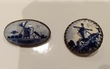 Vintage Delft Silver Brooches in Blue & White - Oval And Round