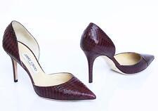 JIMMY CHOO Wine Snakeskin Pointed Toe d'Orsay Pump Heel Shoe 37 NIB