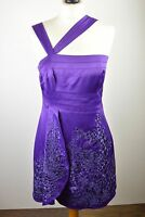 Beautiful womens Karen Millen purple embroidered floral cocktail party dress 12