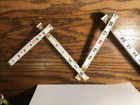 "Vintage 72"" Lufkin Red End Folding Ruler #066 USA Collapsible Lock Joints VG++"