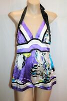 bebe Brand Black Purple White Silk Halter Top Size S BNWT #SA106