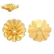 10x Perlenkappen Perlkappen Endkappen filigran Blumen für 4 mm Perlen vergoldet