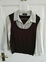 PRINCIPLES PETITE WOMENS BROWN SLEEVELESS TOP + SEWN ON STRIPED SHIRT SIZE 14