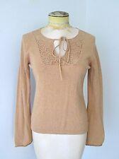 J Crew Camel Brown SOFT Cotton Cashmere Tied Keyhole Sweater Crochet Lace S