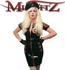 Misfitz black/red latex military style dress,sizes 8-32/made to measure Goth TV