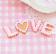4 x Iced LOVE Letter Cookies Flat Back Cabochon Kawaii Kitsch Decoden UK SELLER
