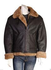 Uomo Aviatore B3 Zenzero Marrone Vera Pelle di Pecora Pelliccia Bomber Nero Leather Jacket